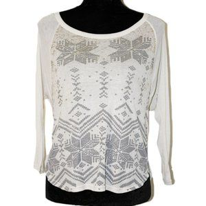 AEO Snowflake shimmer long-sleeved shirt